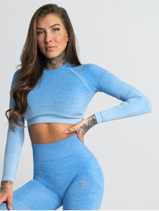 Crop top s dlhým rukávom BLUE OMBRE - Gym Glamour