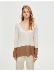 Colour block knit sweater Pull & Bear