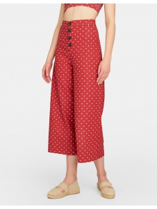 Cropped button-up polka dot trousers Stradivarius