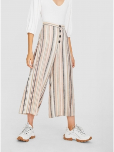 Cropped button-up striped trousers Stradivarius