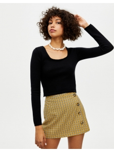 Cropped sweater with square-cut neckline Pull & Bear