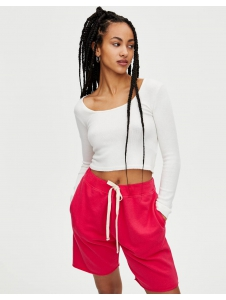 Cropped sweater with square-cut neckline White Pull & Bear