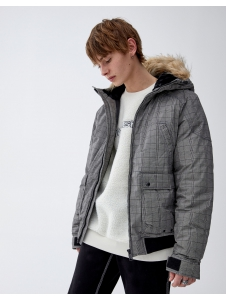 Jacket with faux fur hood Pull & Bear