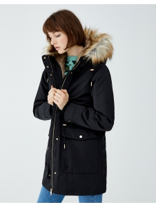 Long hooded parka with faux fur trim Pull & Bear