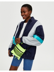 Panelled windbreaker with neon zip Pull & Bear
