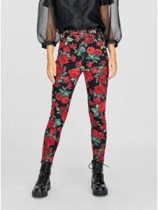 Patterned high-waisted trousers Stradivarius