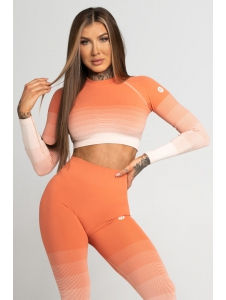 Crop-Top Gym Glamour Coral Ombre