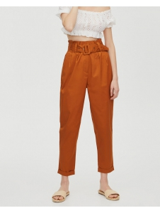 Paperbag trousers with fabric belt Pull & Bear