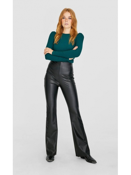 Flared faux leather trousers Stradivarius